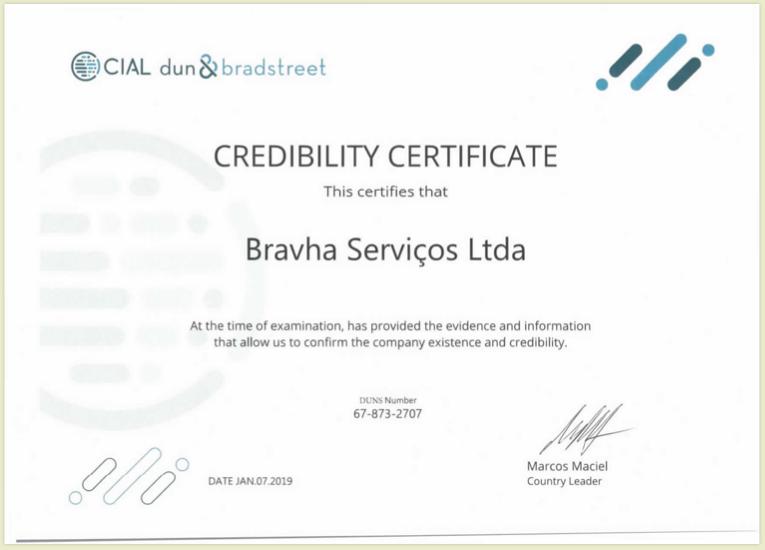 Bravha recebe Certificado de Credibilidade